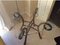 Glass top occasional table with ornate metal base and legs. 2 available . £30 each
