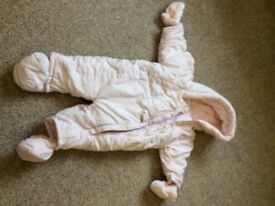 Pink mothercare snowsuit size 6-9 months