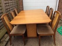 G plan dining room table & 6 chairs