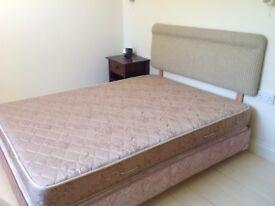 Double bed - divan base, mattress and headboard