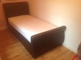 Single bed leather