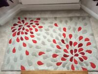 Dunelm red floral spray rug