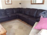 Chocolate brown leather 6 seater corner unit