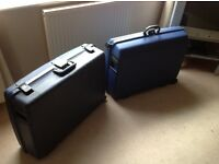 2 Large Hard Plastic Suitcases Luggage Delsey & Samsonite