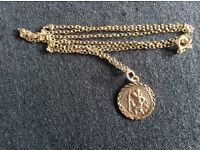 Gold St Christopher and Chain