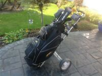 Set of gent's golf clubs with bag and trolley