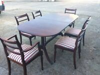 Dining table and 6 chairs, very good condition, table can extend, 2 carver chairs.
