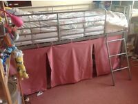 Metal midi sleeper bed with removable pink tent