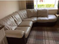 DFS cream and brown leather corner sofa, sofa bed, and storage foot stool all great condition!