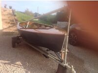 ENTERPRISE SAILING DINGHY with Trolley & Road Trailer, fully equipped, in almost concours condition