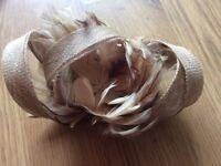 Tweed beige hair fascinator clip