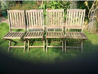 Solid wooden folding garden chairs set of 4