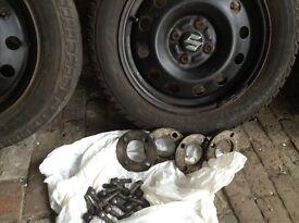 """15"""" Suzuki swift steel wheels with winter tyres"""