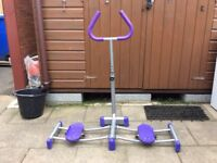 Exercise equipment for hips and thighs, stand with sliding footplates