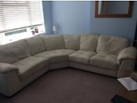 Cream Leather Corner Sofa for sale £350 ONO