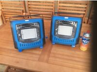 2 gas heaters plus 10 gas canisters