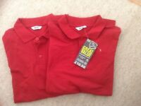 Red Polo Shirts x2 age 11 years