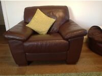 Chocolate three seater leather sofa plus armchair to mach