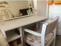 Almost New Dressing Table, Free standing mirror, chair.