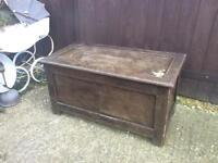 Vintage dark wood storage chest trunk blanket toy box