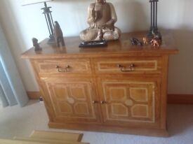 Mango wood & Marble inlay chest - 2 drawers/cupboards
