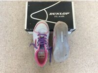 White purple and pink Dunlop flash trainers