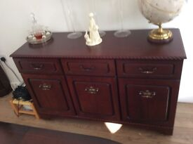 Mahogony Side-board with 3 drawers & 3 Cupboards with shelves