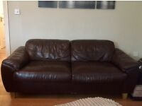 Chocolate brown 3 seater & 2 seater leather sofas