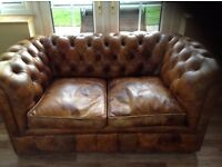 2 Seater Chesterfield Settee, 2 Armchairs and Footstall