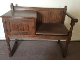 Solid Oak Telephone Seat / Cabinet.