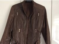 Ladies brown/tan leather jacket with belt size 16