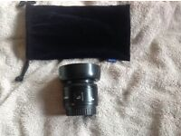 CANON EF 50MM F/1.8 MKII AUTOFOCUS PRIME LENS WITH HOOD AND BOTH DUST CAPS, EXCELLENT CONDITION!!