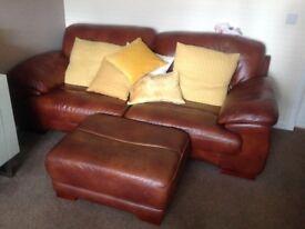 Sofology tan leather settees x 2 + footstool