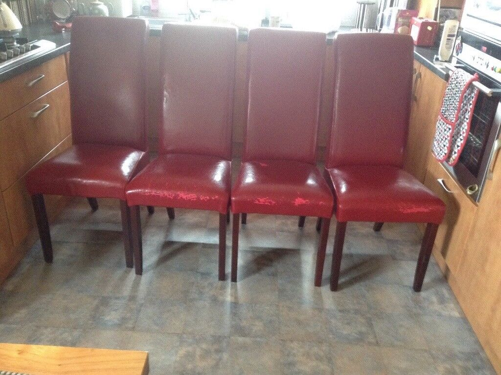 4 Red Leather Dining Room Chairs Free In Newlands Glasgow Gumtree