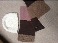 Accessorize Monsoon ladies woman's winter knitted cream beanie hat & pink beige striped scarf