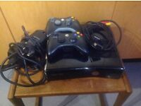 XBox 360 slim shiny black 2 Controllers power plug tv audio lead