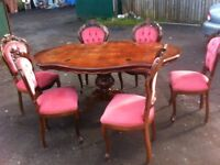WOW AMAZING CLASSY fantabulous shaped dining table and six matching button back dining chairs