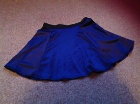 Navy satin skirt