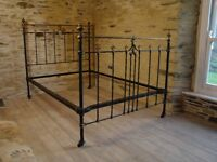 Antique Victorian Cast Iron & Brass Bed Frame 4ft 6 Double