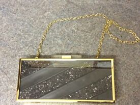 Ladies Small Black & Gold Clutch Bag