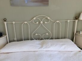 King size headboard feather & black tubular steel with brass knobs free standing or screw to wall