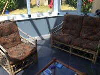 Cane conservatory two seater sofa and matching chair