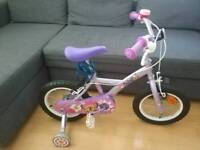Girls 14inch apollo bike with stabilisers