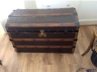 Antique dome topped steamer trunk