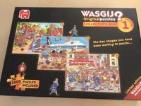 LIKE NEW THREE WASGIJ 1000 PIECE PUZZLES IN ONE BOX