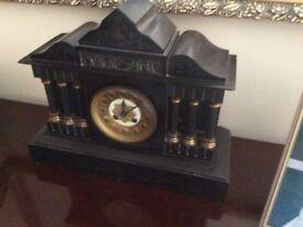 Victorian black slate clock