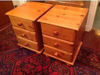 Pair of pine beside drawers