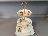 Royal Stafford Bone China 3 Tier Cake Stand Yellow Floral.