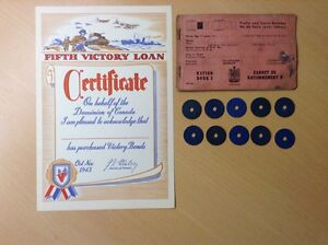 1940s WWII War Bond Certificates, Rations Booklet & Meat Coins