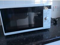 Microwave, pine chest of drawers plus assorted electrical extension leads